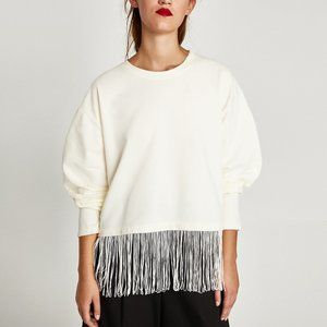 NEW Zara Trafuluc Off-white fringed sweatshirt top